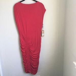 Halogen Ruched Detail Red Sheath Dress